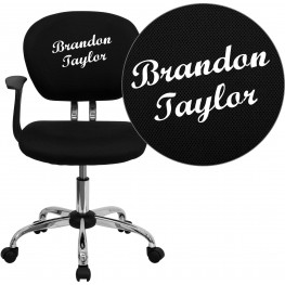 Personalized Mid-Back Black Swivel Arm Chair (Min Order Qty Required)
