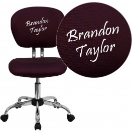Embroidered Mid-Back Burgundy Swivel Task Chair