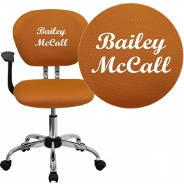 Personalized Mid-Back Orange Swivel Arm Chair (Min Order Qty Required)