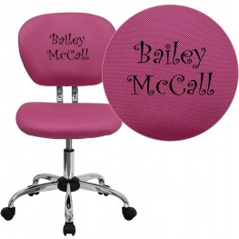Personalized Mid-Back Pink Swivel Task Chair