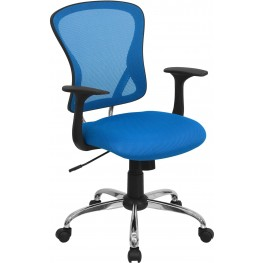 Mid-Back Blue Office Chair With Chrome Finished Base (Min Order Qty Required)