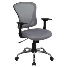 Mid-Back Gray Office Chair With Chrome Finished Base (Min Order Qty Required)