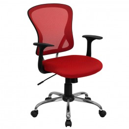 Mid-Back Red Office Chair With Chrome Finished Base (Min Order Qty Required)