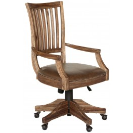 Adler Desk Chair with upholstered seat and wood back