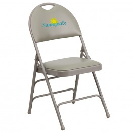 Embroidered HERCULES Series Ultra-Premium Triple Braced Gray Vinyl Metal Folding Chair