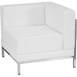 Hercules Imagination Series White Leather Right Corner Chair