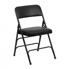 Hercules Series Curved Black Vinyl Folding Chair