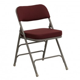 Hercules Series Premium Curved Burgundy Fabric Folding Chair