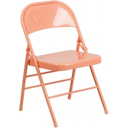 HERCULES COLORBURST Series Sedona Coral Triple Braced Metal Folding Chair