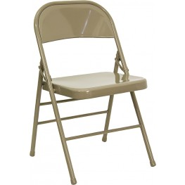 Hercules Triple Braced & Quad Hinged Beige Metal Folding Chair