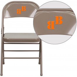 32000 Personalized HERCULES Series Triple Braced Beige Metal Folding Chair