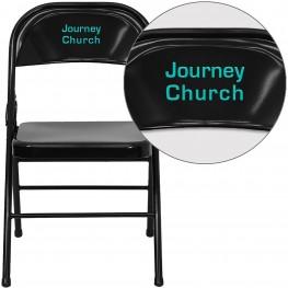 32002 Personalized HERCULES Series Triple Braced Black Metal Folding Chair