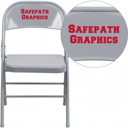 32004 Personalized HERCULES Series Triple Braced Gray Metal Folding Chair