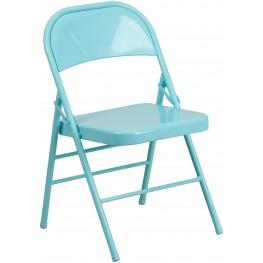HERCULES COLORBURST Series Tantalizing Teal Triple Braced Metal Folding Chair