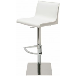 Colter White Leather Adjustable Stool