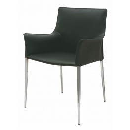 Colter Black Leather Dining Arm Chair