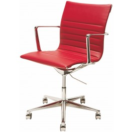 Antonio Red Naugahyde Office Chair