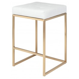 Chi White Naugahyde Counter Stool