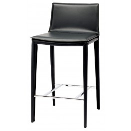 Palma Black Leather Counter Stool