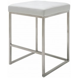 Chi White Leather Counter Stool