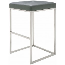 Chi Grey Leather Bar Stool