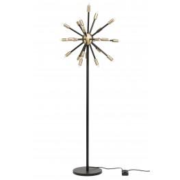 Sergei Antique Brass Metal and Black Metal Floor Lamp