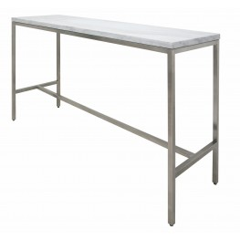 "Verona 60"" White Stone Bar Table"