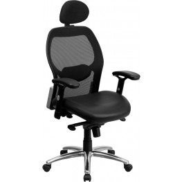 High Back Super Black Leather Mesh Office Chair