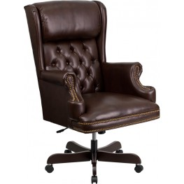 J600-BRN High Back Tufted Brown Leather Executive Office Chair