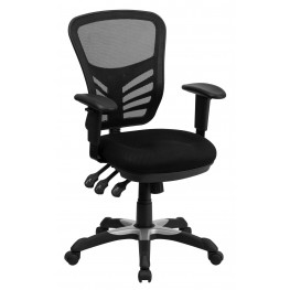 Mid-Back Black Chair with Triple Paddle Control