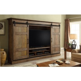 Hunts Point Vintage Weathered Pine Sliding Door Entertainment Wall