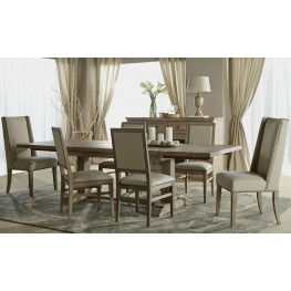 Hudson Stone Wash Rectangular Extendable Trestle Dining Room Set with Dexter Dining Chairs
