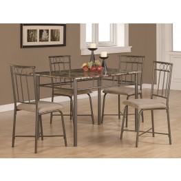 1029 Cappuccino Marble / Bronze Metal 5Pcs Dining Set