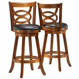 "1251 Dark Oak Solid Wood 42"" Swivel Barstool Set of 2"