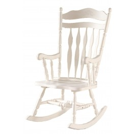 1525 Antique White Embossed Back Solid Wood Rocking Chair