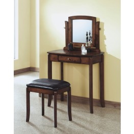 1582 Walnut Solid-Top Vanity With Stool