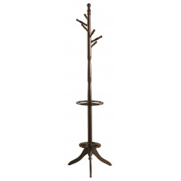 2005 Cappuccino Solid Wood Coat Rack With Umbrella Stand