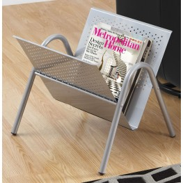 Silver Metal Magazine Rack