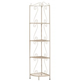 "2101 White Hammered Metal 70"" Corner Display Etagere"