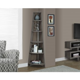 "Dark Taupe Reclaimed-Look 72"" Corner Accent Etagere"
