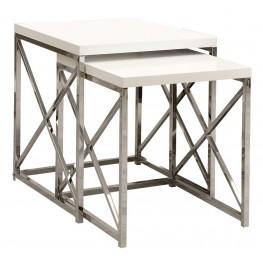 3025 Glossy White / Chrome Metal 2Pcs Nesting Tables