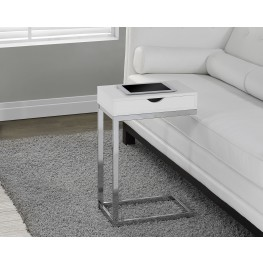 Glossy White Hollow-Core/Chrome Metal Accent Table