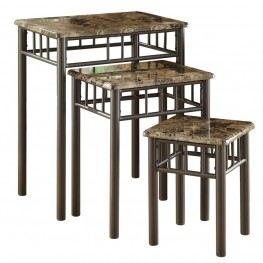 3041 Cappuccino Marble / Bronze Metal 3Pcs Nesting Tables