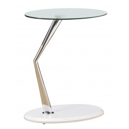 3048 Glossy White / Chrome Metal Accent Table