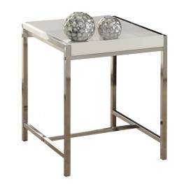 3050 White Acrylic / Chrome Metal Accent Table
