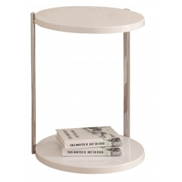 3056 White / Chrome Metal Accent Table