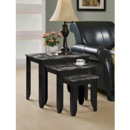3130 Black / Grey Marble Top 3Pcs Nesting Table Set