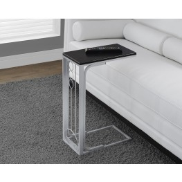 Silver Metal Black Top Accent Table