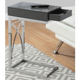 Glossy Gray Drawer Accent Table