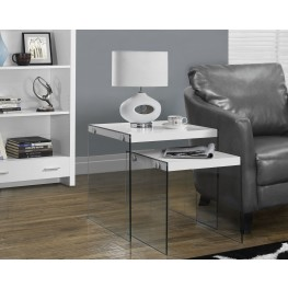 2 Piece Glossy White Nesting Table Set